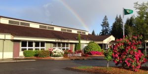 Southside Elementary with rainbow